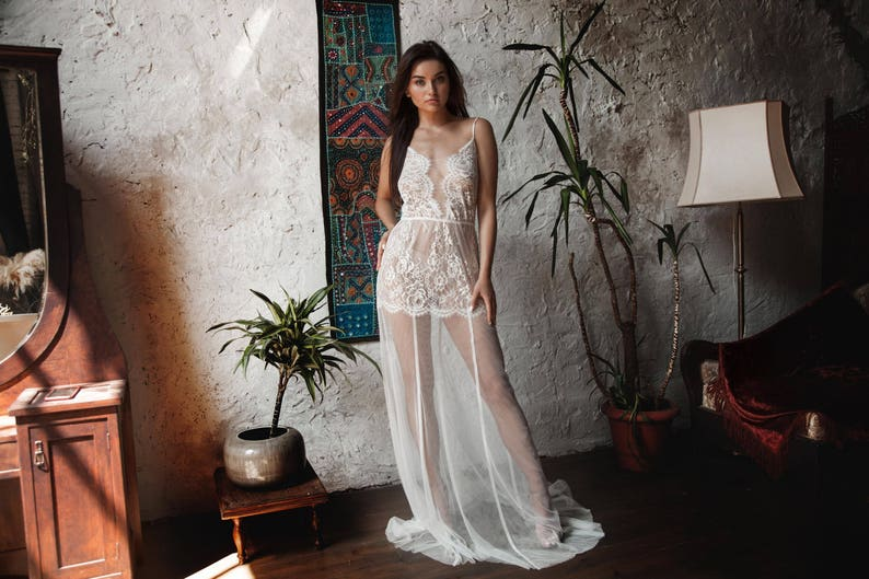 9e4bad20b2d Long Tulle Bridal Nightgown With Lace F31Lingerie Bridal