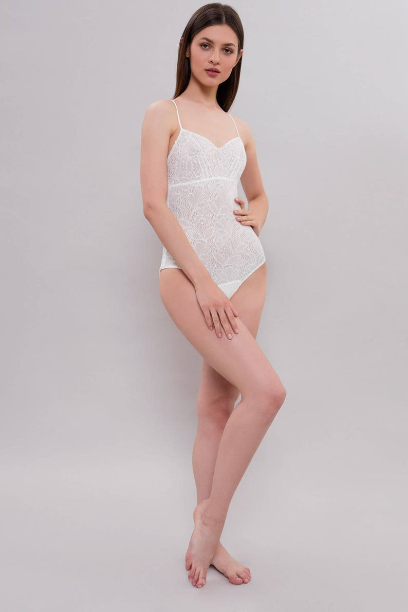 Bodysuit Women Lace Bodysuit Wedding Lingerie White Bodysuit Ivory Bodysuit Lace Bridal Bodysuit F23 Bridal Lingerie Honeymoon