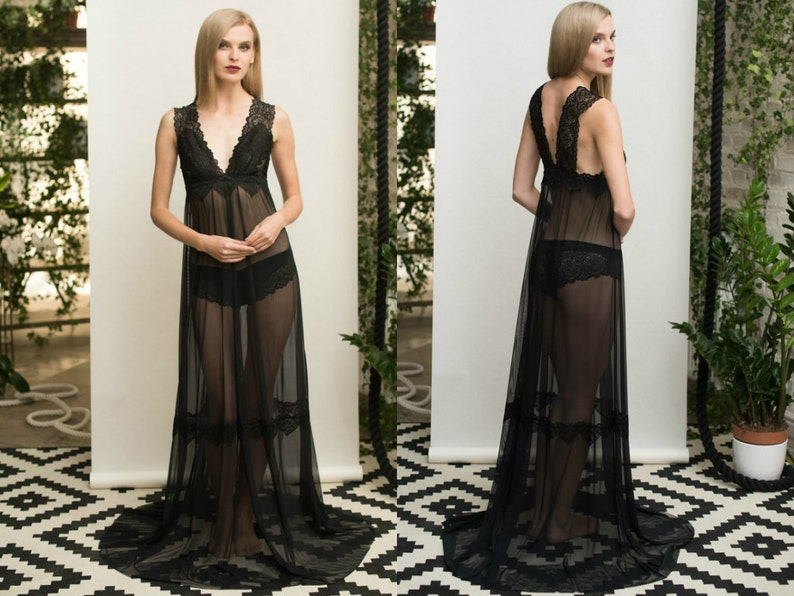 a641032d189 Long Black Tulle Bridal Nightgown With Lace F11 black Black