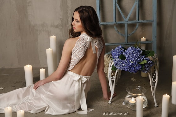 For Woman,For Girlfriend Wedding Lingerie For Her Long Silk Bridal Nightgown With Open Back and Lace F12 Bridal Lingerie