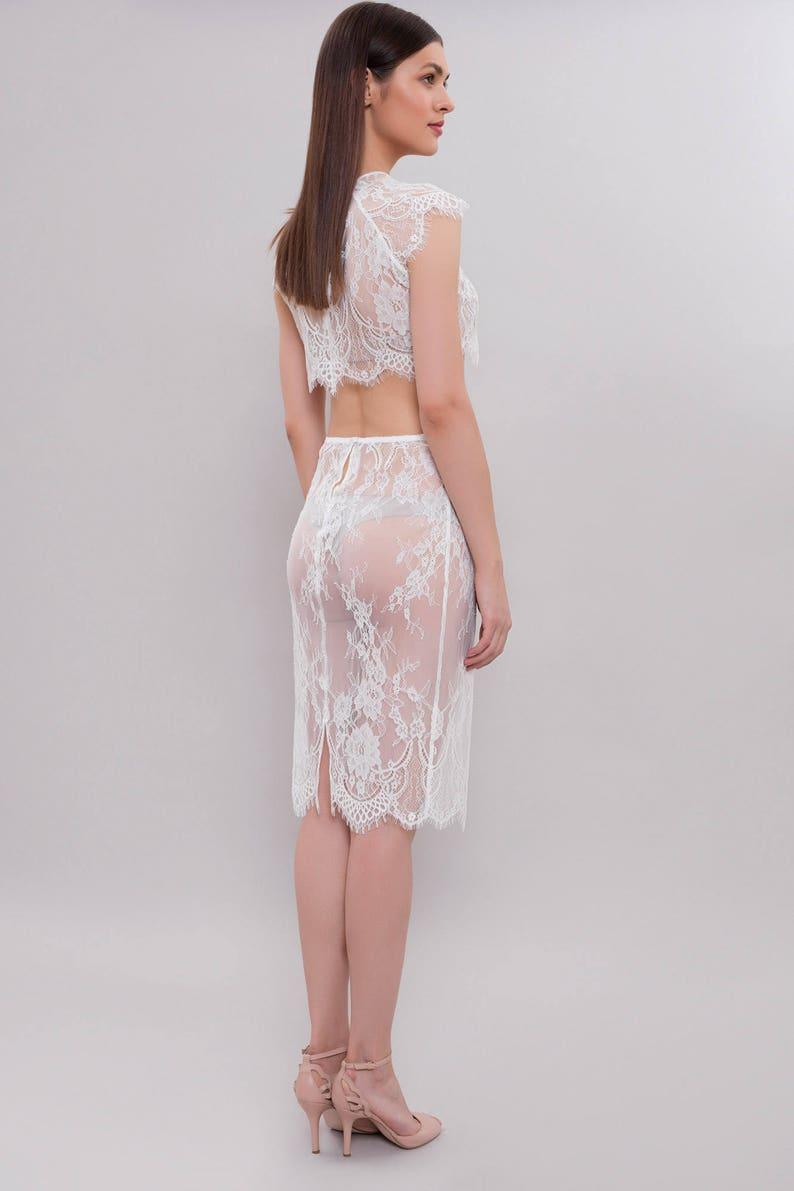 Lace Top Bridal Lingerie Short Lace Suit Lace Skirt Wedding Lingerie Lace Lingerie Set F24 Wedding Gift Gift for the Bride