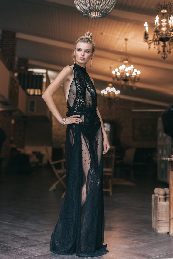 133141e0c43 Black Long Tulle Bridal Nightgown with Lace F41 Sheer
