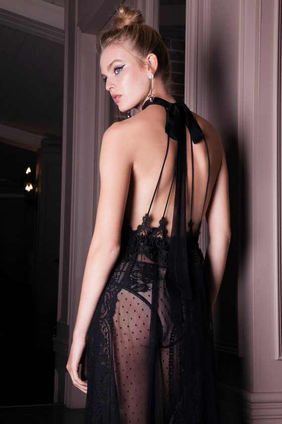 6814b1a994a See Through Black Bridal Nightgown with Lace F41 Sheer