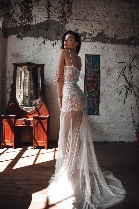 Wedding Lingerie Bridal Lingerie For Woman Long Tulle Bridal Nightgown With Lace F31 Wedding Gift Lingerie Honeymoon Bride Gift