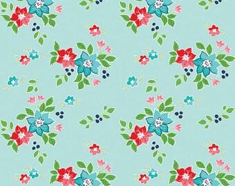 PREORDER Seaside by Tasha Noel for Riley Blake, C7232-AQUA, Seaside Floral Aqua, Nautical Fabric, Beach Fabric, Boating, Coming in June