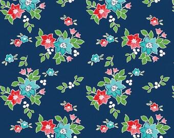 PREORDER Seaside by Tasha Noel for Riley Blake, C7232-NAVY, Seaside Floral Navy, Nautical Fabric, Beach Fabric, Boating, Coming in June
