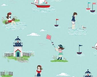 PREORDER Seaside by Tasha Noel for Riley Blake, C7230-AQUA, Seaside Aqua Main, Nautical Fabric, Beach Fabric, Boating, Coming in June