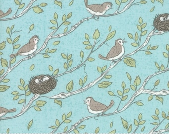Nest Fabric by Lella Boutiquee for Moda, #5061-15, Birdsong, Birds Nest Robins Egg Blue - IN STOCK