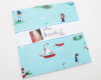 "PREORDER Seaside 10"" Stacker by Tasha Noel for Riley Blake, Layer Cake, 42 10"" squares, Nautical Fabric, Beach Fabric, Boating,"
