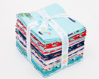 PREORDER Seaside Fat Quarter Bundle by Tasha Noel for Riley Blake, 21 Pieces, Nautical Fabric, Beach Fabric, Boating, Coming In June/July