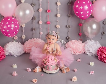 Cake Smash Outfit Girls First Birthday Girl Props Tutu Pink