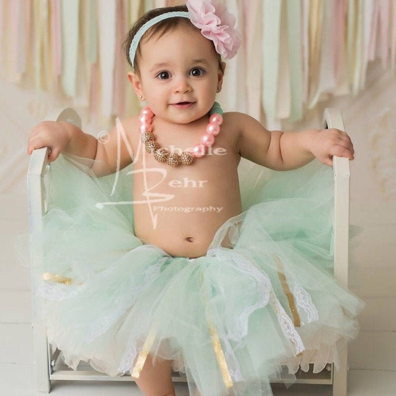 Mint cake smash outfit 1st birthday party tutu first birthday outfit mint tulle skirt Mint tutu tutu for cake smash mint and gold