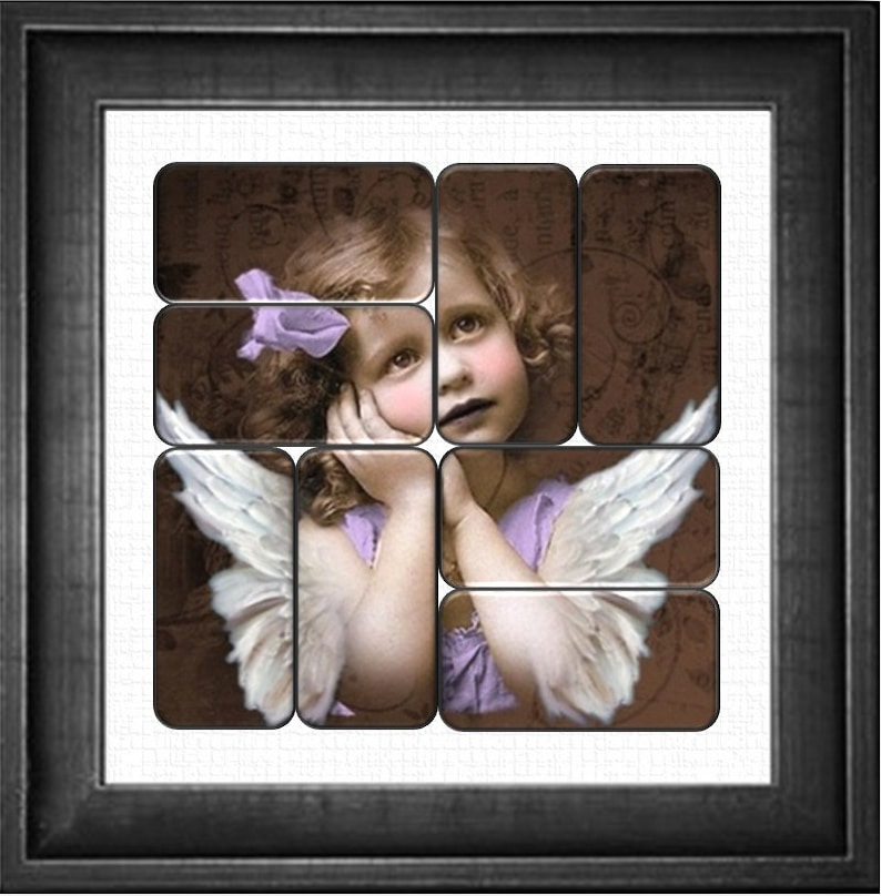 Domino Collage Set Angel Unaware Sized to fit 1X2 dominos 8 domino images create a beautiful domino collage.