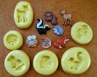 Forest animal silicone molds, Owl mold, Deer mold, Skunk mold, Beaver mold, Fox mold, Porcupine mold, resin mold, fondant mold, crayon mold