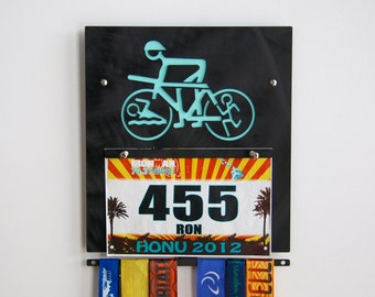 Triathlete Wall Plaque to Display Medals & Bibs - Black Anodized Finish