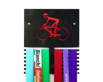 Cyclist Wall Plaque to Display Medals - Black Anodized Finish