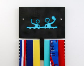 Water Polo Wall Plaque to Display Medals - Black Anodized Finish