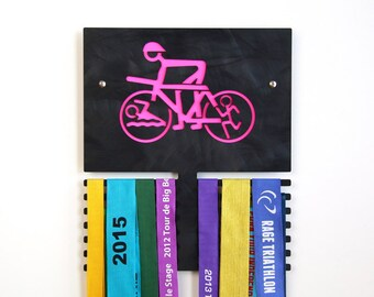 Triathlete Wall Plaque to Display Medals - Black Anodized Finish