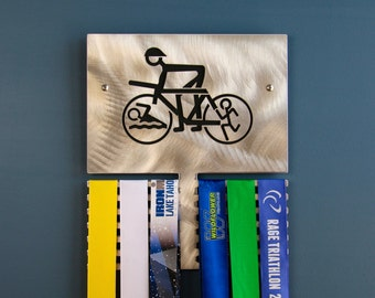 Triathlete Wall Plaque to Display Medals