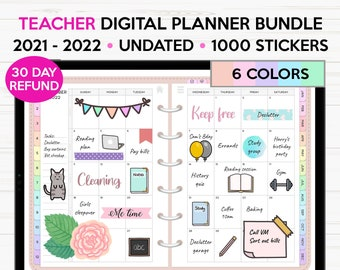 Teacher Digital Planner 2021 2022 with 1000+ Stickers - Goodnotes Notability Xodo Noteshelf - Dated & Undated - Daily Weekly Monthly