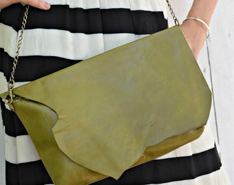 Olive Green Leather Purse, Clutch, Crossbody