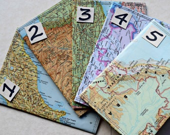 Passport holder, Passport Cover, Vintage Upcycled Map, Jetsetter Travel Gift OOAK