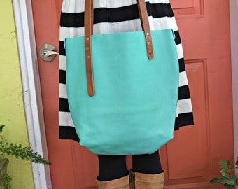 Teal Leather Tote, Handmade, Carry-all , Purse, Buisness Bag
