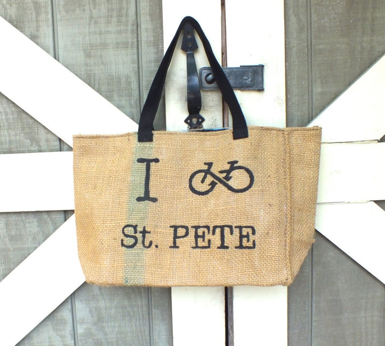 I Bike St. Pete: Upcycled burlap tote with billboard lining image 0