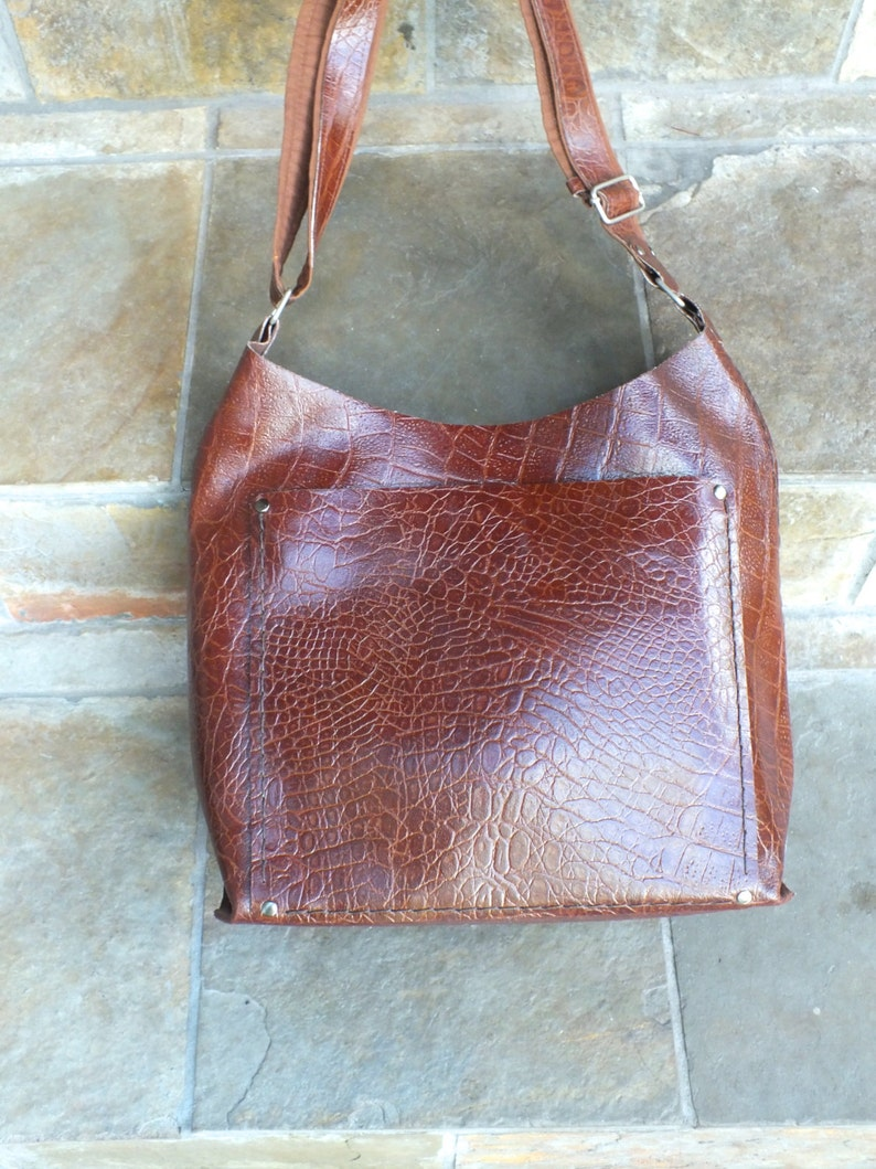 Leather Journey Bag Genuine Leather with upcycled pocket image 0