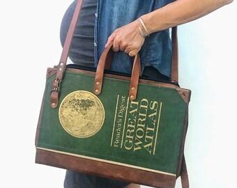 Green Vintage Atlas Briefcase, laptop case