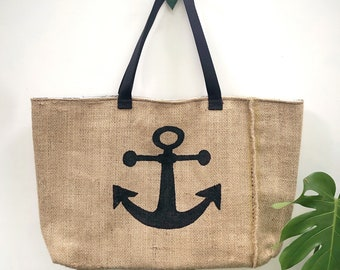 Anchor Tote Upcycled burlap tote with billboard lining