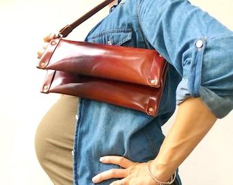 Cognac Brown Leather Clutch