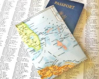 Florida and Caribbean Vintage Map Passport Holder