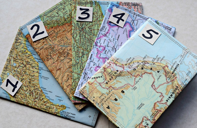 Passport holder Passport Cover Vintage Upcycled Map image 0