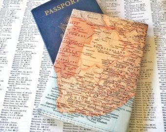 South Africa Vintage Map Passport Holder