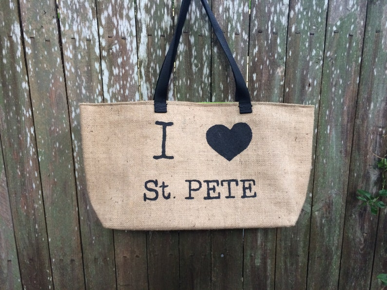 I Love St. Pete: Upcycled burlap tote with billboard lining image 0