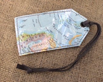 Vintage Map Luggage Tag