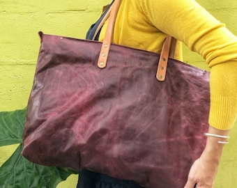 Burgundy Leather Tote/Backpack