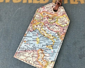 Italy Vintage Map Luggage Tag