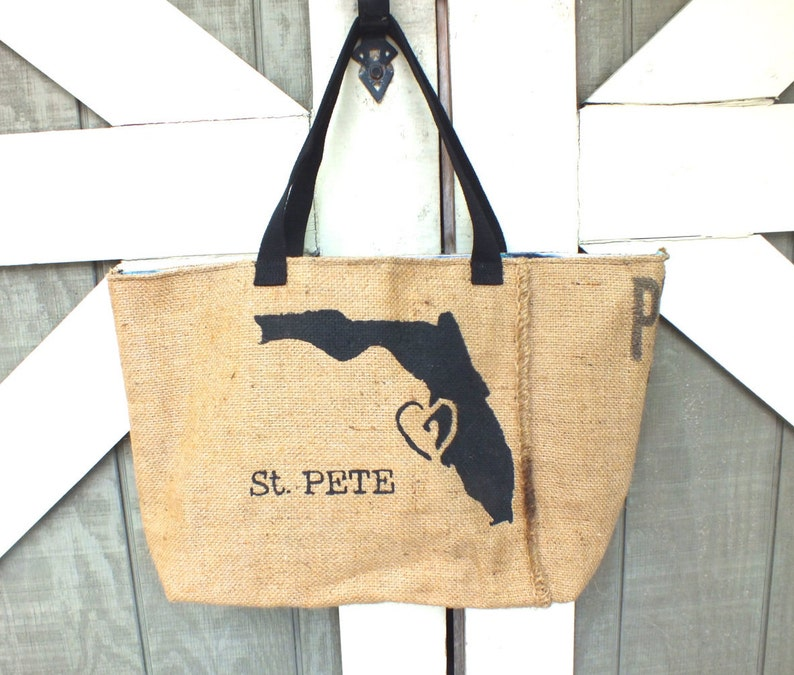 St. Pete Love: Upcycled burlap tote with billboard lining image 0