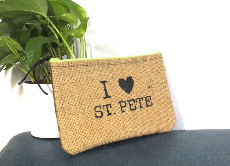 I LOVE St. Pete Burlap Clutch: Upcycled with billboard lining image 0