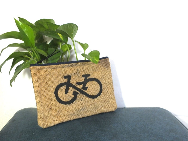 Bike Burlap Clutch: Upcycled with billboard lining image 0
