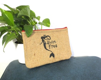 Memaid Burlap Clutch: Upcycled with billboard lining