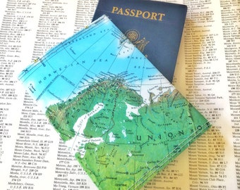 European Vintage Map Passport Holder