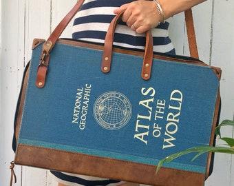 Vintage Atlas Briefcase, laptop case