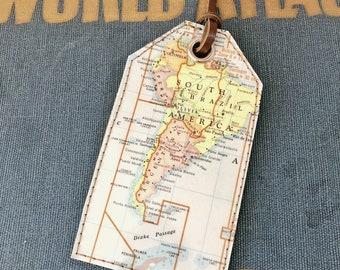 South America Vintage Map Luggage Tag