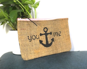 You Anchor Me, Burlap Clutch: Upcycled with billboard lining