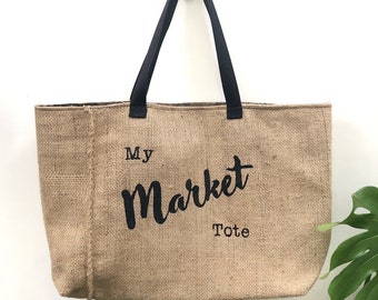 My Market Tote: Upcycled burlap tote with billboard lining