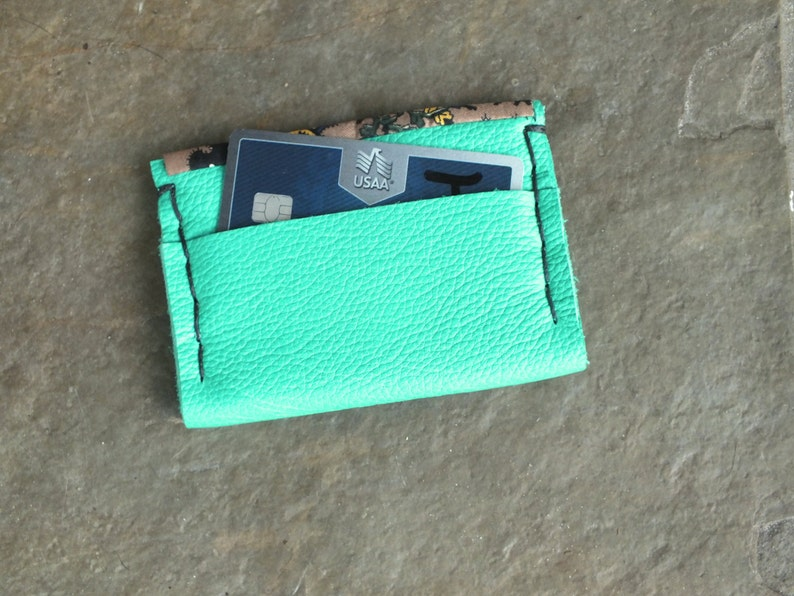 Teal Green Leather Wallet image 0