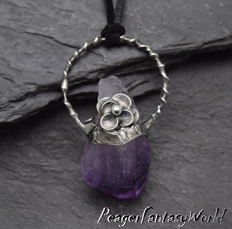 Amethyst necklace,Rough Amethyst,Oxidized necklace,Amethyst jewelry,Metalwork old style pendant,Women pendant,flower pendant,silver pendant